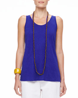 Eileen Fisher Long Organic Linen-Jersey U-Neck Tank