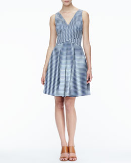 Halston Heritage Striped Crisscross Dress