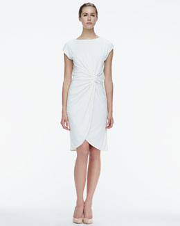 Halston Heritage Knot-Waist Satin Dress