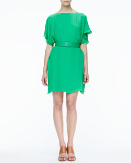 Halston Heritage Belted Draped Dress
