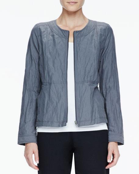 Rumpled Metallic Zip-Front Jacket
