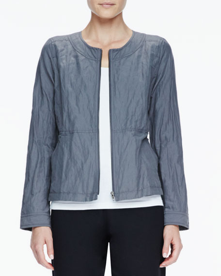Rumpled Zip-Front Jacket, Women's