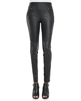 BCBGMAXAZRIA Faux-Leather/Ponte Leggings