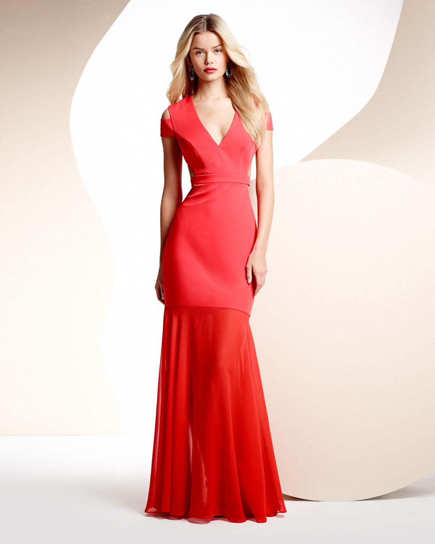 BCBGMAXAZRIA Ava Cutout Sheer-Skirt Gown   Neiman Marcus