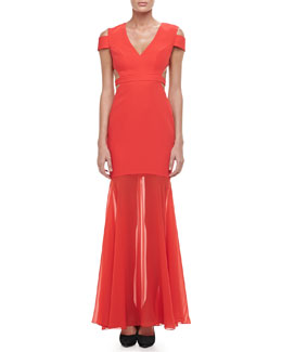 BCBGMAXAZRIA Ava Cutout Sheer-Skirt Gown