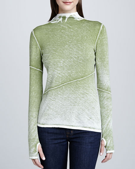 Exposed Seam Funnel-Neck Top