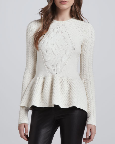 Layla Mixed-Knit Peplum Sweater
