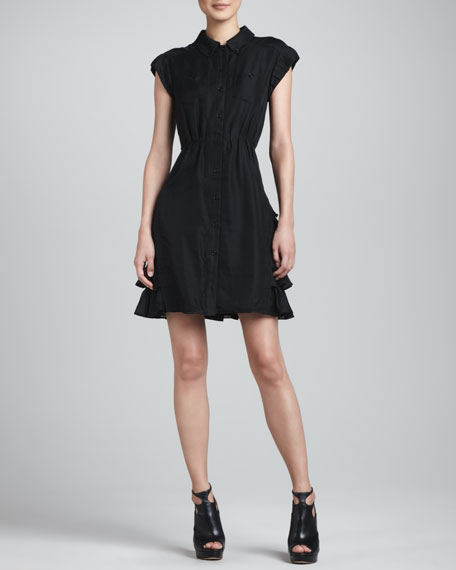 Ruffle-Panel Shirt Dress, Black