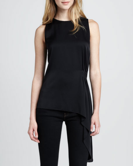 Shanae Sleeveless Georgette Blouse, Black