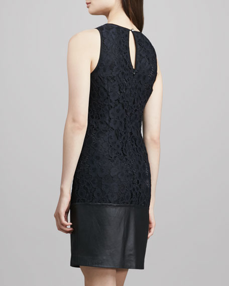 Amyas Leather-Hem Lace Dress