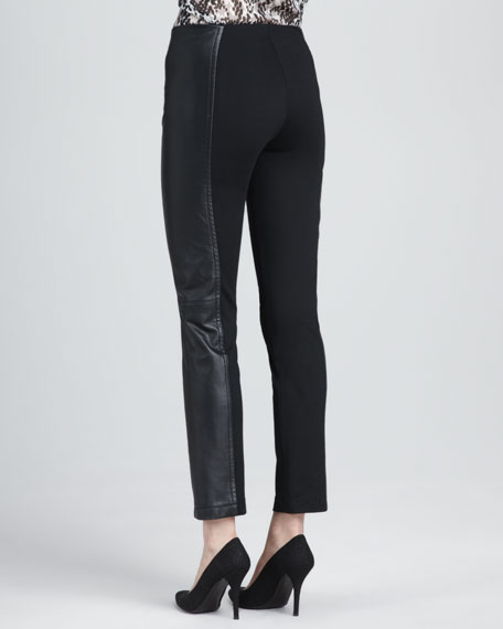 Gannon Leather-Panel Pants