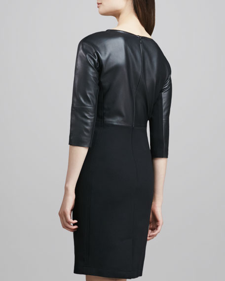 Marcella Leather/Ponte Dress