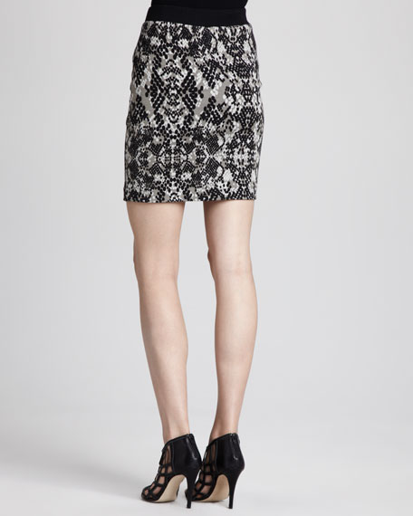 Candra Snake-Print Ponte Skirt