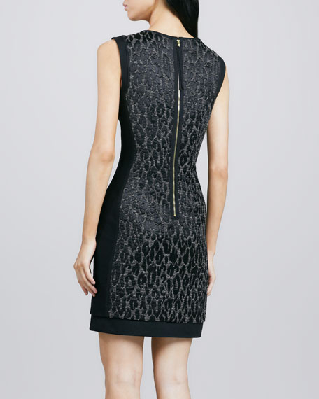 Sharise Leopard-Jacquard Dress