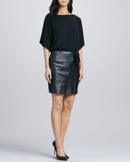 Ione Jersey/Leather Blouson Dress
