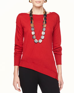 Eileen Fisher Merino Seam-Detail Boat-Neck Top