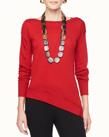 Merino Seam-Detail Boat-Neck Top, Petite