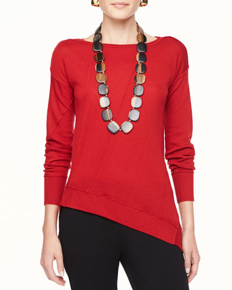 Merino Seam-Detail Boat-Neck Top, Women's