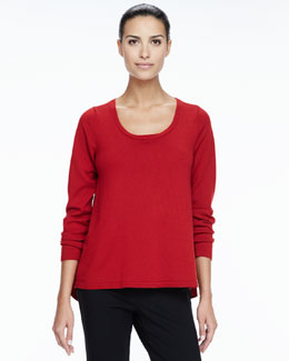 Eileen Fisher Merino Scoop-Neck Sweater, Petite