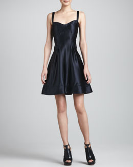 ZAC Zac Posen Satin Fit & Flare Dress, Black