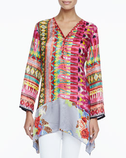 Johnny Was Collection Kamelia V-Neck Printed Blouse