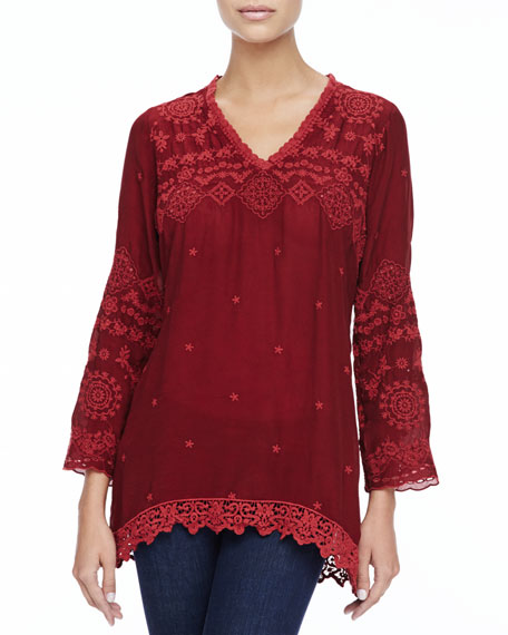 Glory V-Neck Embroidered & Lace Tunic