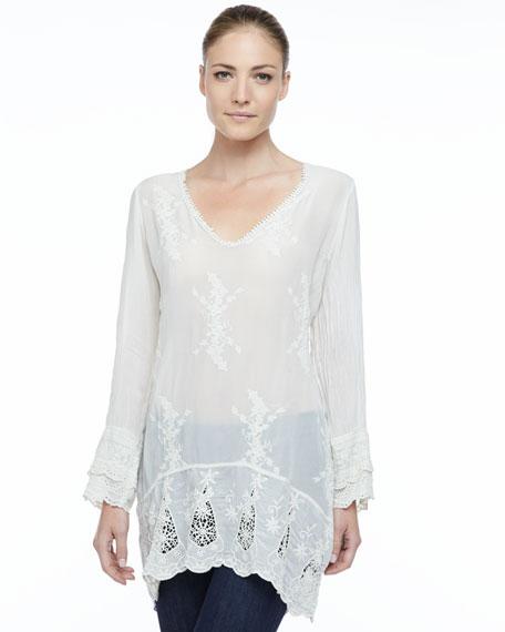 Long-Sleeve Georgette V-Neck Tunic, Women's