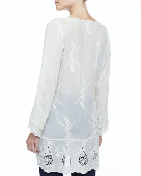 Long-Sleeve Georgette V-Neck Tunic