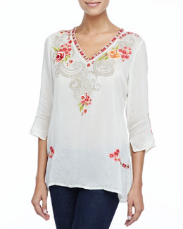 Johnny Was Collection Taylor 3/4-Sleeve Embroidered Blouse, Women's
