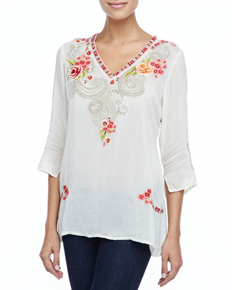 Taylor 3/4-Sleeve Embroidered Blouse, Women's