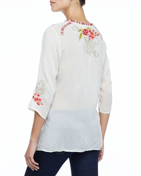 Taylor 3/4-Sleeve Embroidered Blouse