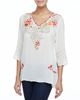 Johnny Was Collection Taylor 3/4-Sleeve Embroidered Blouse
