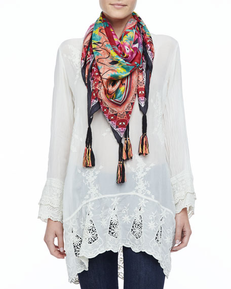 Kamelia Printed Silk Scarf