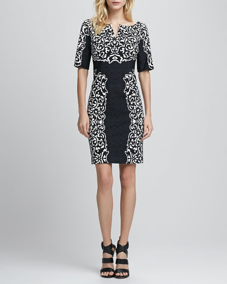 Scroll Jacquard Split-Neck Sheath Dress