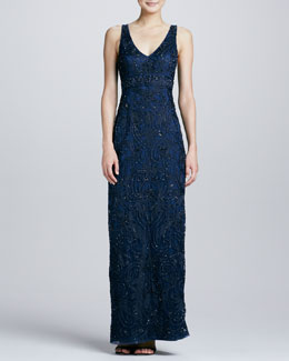 Sue Wong Embroidered V-Neck Gown, Navy