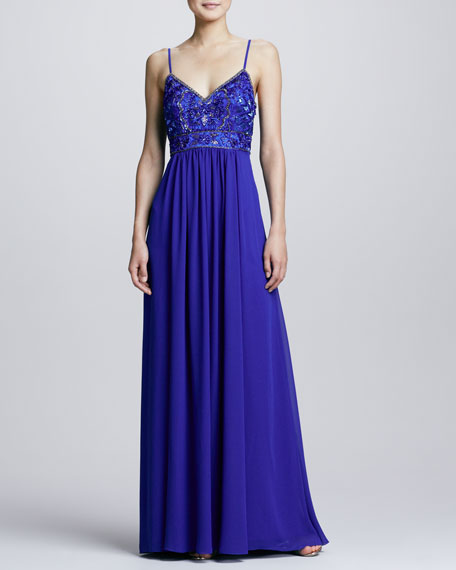 Beaded Bodice Gown, Sapphire