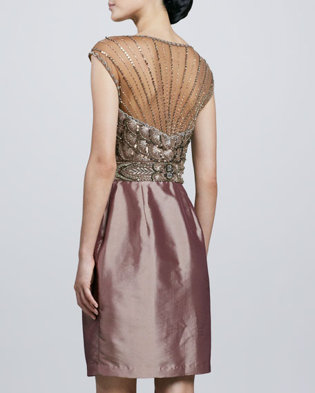 Beaded-Bodice Illusion-Neck Cocktail Dress
