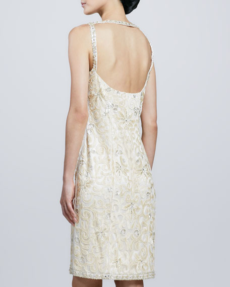 Open-Back Beaded Cocktail Dress