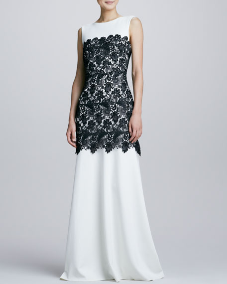 Bicolor Lace-Overlay Gown