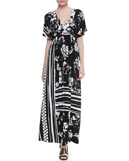 Melissa Masse Empire-Waist Floral-Print Long Dress