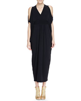 Melissa Masse Open-Shoulder Caftan Maxi Dress