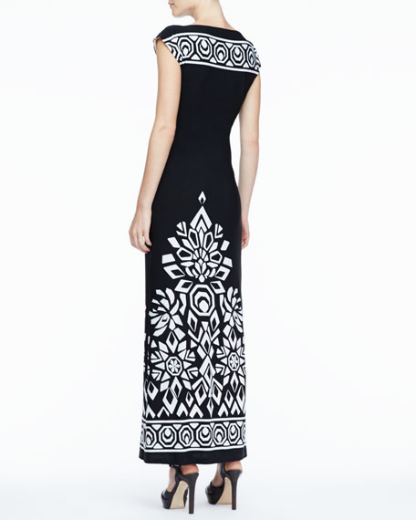 Long Trellis-Border Dress, Women's