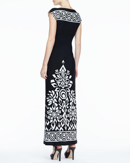Long Trellis-Border Dress, Women's