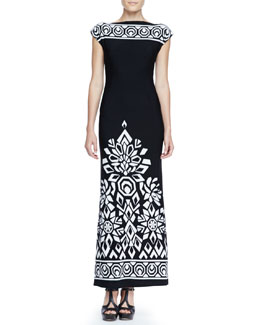 Melissa Masse Long Trellis-Border Dress