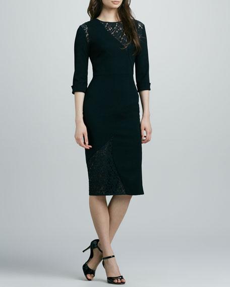 Salvatore Lace-Inset Sheath Dress