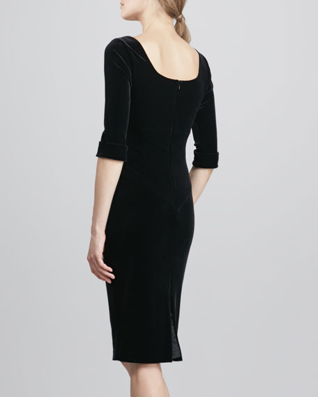 Jackie Asymmetric Velvet Dress, Black