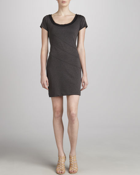 Fringe-Trim Jersey Sheath Dress, Gray
