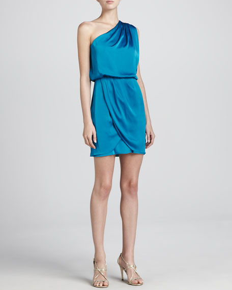 One-Shoulder Draped Skirt Cocktail Dress