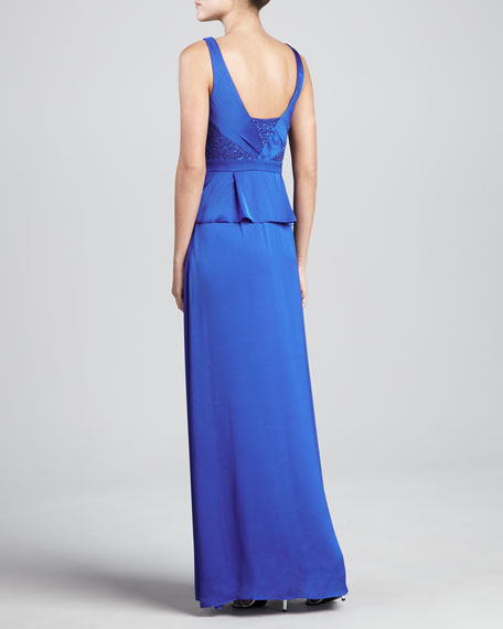 Beaded-Bodice Long Gown