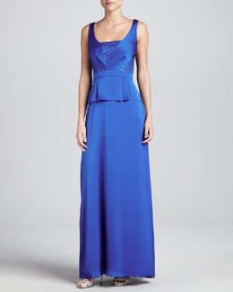 Aidan Mattox Beaded-Bodice Long Gown